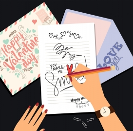 valentine banner hands writing cards icon colored cartoon