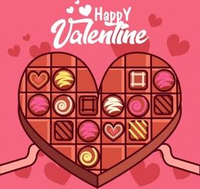 valentine banner heart chocolate cake icon