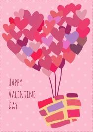 valentine banner heart shape design hand drawn sketch