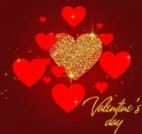 valentine banner red heart glitter decor