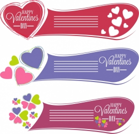 valentine banners collection blue red violet decoration