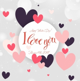 valentine card template floating hearts decoration