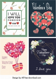 valentine card templates classical colorful hearts floral decor