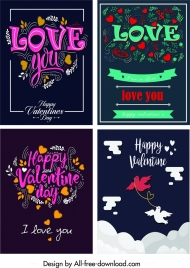 valentine cards templates colorful dark calligraphic hearts decor