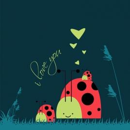 valentines card background hearts stylized bug icons