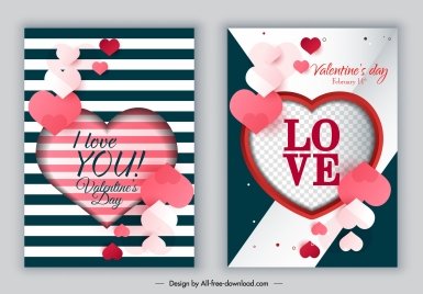 valentines card templates modern bright colorful hearts shapes