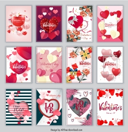 valentines cards templates collection colorful dynamic hearts decor