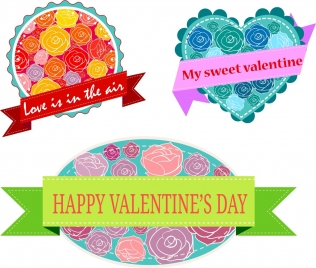valentines decoration banners colorful roses ribbon decoration