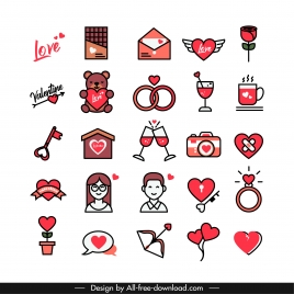 valentines design elements classical flat symbols sketch