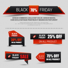 various black friday sale banners with text