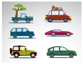various car icons collection in flat design
