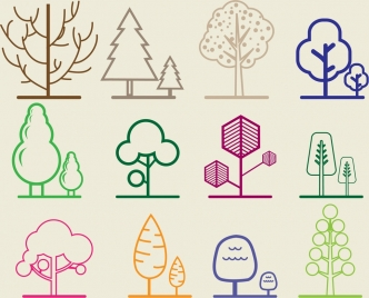various trees sketch colored flat decoration