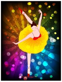 vector illustration of ballet dancer on bokeh background
