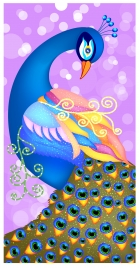 vector illustration of colorful peacock on bokeh background