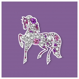 vector illustration of horse decorated with shiny gems