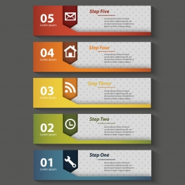 vector illustration of steps infographic on horizontal banners