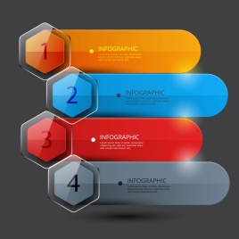 vector infographic design with shiny colorful horizontal tabs