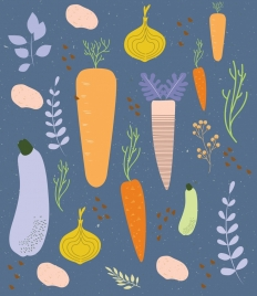 vegetable background flat colorful handdrawn outline