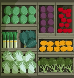 vegetable background wooden trays display icon colorful classical