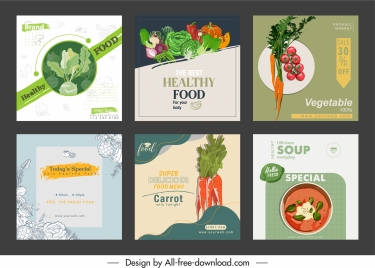 vegetable food advertising banner colored classical handdrawn decor