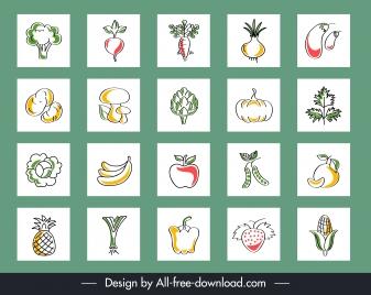 vegetable fruits background flat handdrawn isolation design