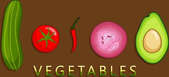 vegetable ingredients background multicolored icons