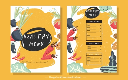 vegetable menu template colorful classic handdrawn design