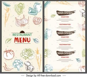 vegetable menu template colorful flat handdrawn decor