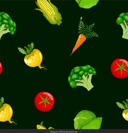 vegetable pattern template dark colorful repeating icons decor