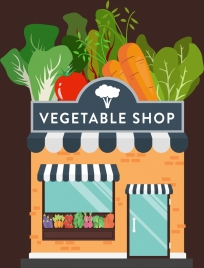 vegetable shop advertising banner colorful icons decor