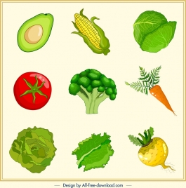 vegetables background colorful icons decor