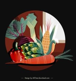vegetables background vintage colored flat sketch