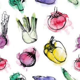 vegetables background watercolored grungy decor