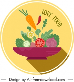 vegetables food label dynamic colorful flat classic sketch
