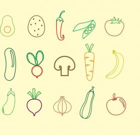 vegetables fruit icons outline colored flat design