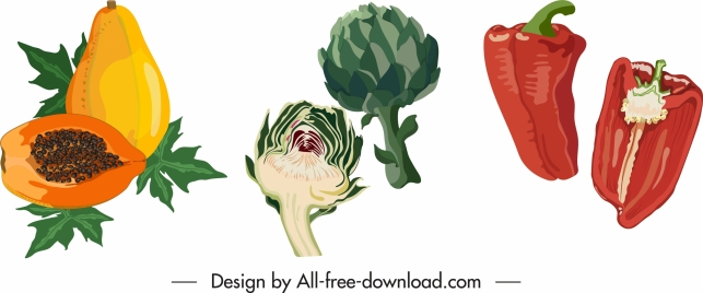 vegetables fruits icons colored classical flat handdrawn sketch