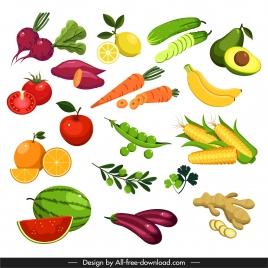 vegetables fruits icons colorful modern design