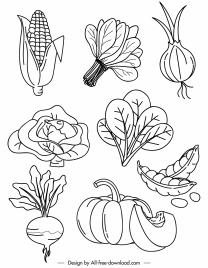 vegetables icons black white handdrawn sketch
