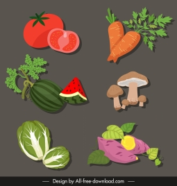 vegetables icons colored classic sketch