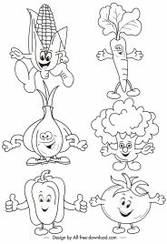 vegetables icons funny stylized handdrawn cartoon sketch