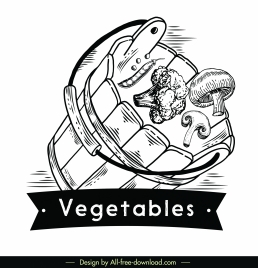 vegetables logotype motion design retro 3d sketch