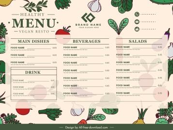 vegetables menu template colorful classic flat handdrawn sketch