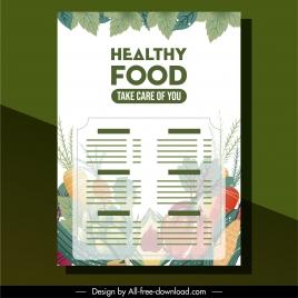 vegetables menu template elegant colorful blurred decor