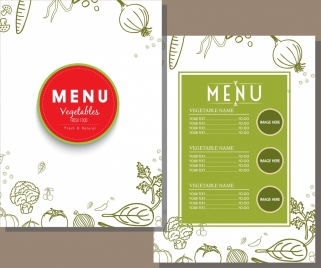vegetarian menu template green decor handdrawn sketch