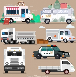 vehicles icons bus truck police cars sketch
