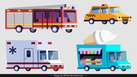 vehicles icons cars truck van sketch colored classic