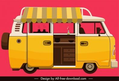 vendor bus icon yellow classical sketch