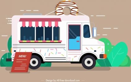 vendor truck icon modern flat sketch