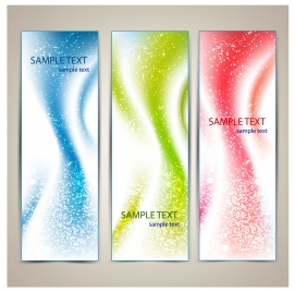 vertical abstract color banners with snow effect