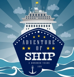 vessel trip advertising ship sea icons rays decor